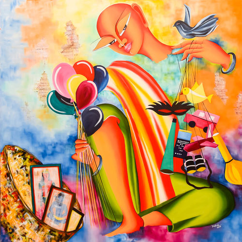 dream merchant, 48 x 48 inch, deepali mundra,figurative paintings,paintings for living room,canvas,oil,48x48inch,GAL0400766