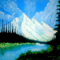 mountain and snow, 29 x 21 inch, ashish lokhande,paintings,landscape paintings,paintings for living room,canvas,poster color,29x21inch,GAL031327660