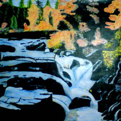 natural river in forest, 21 x 29 inch, ashish lokhande,paintings,landscape paintings,paintings for living room,canvas,acrylic color,21x29inch,GAL031327661