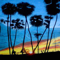 natural sunset, 21 x 29 inch, ashish lokhande,paintings,landscape paintings,paintings for living room,canvas,poster color,21x29inch,GAL031327663