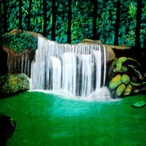 natural waterfall in forest, 29 x 21 inch, ashish lokhande,paintings,landscape paintings,paintings for living room,canvas,poster color,29x21inch,GAL031327664