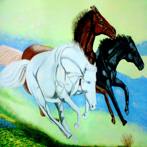 running horses, 29 x 21 inch, ashish lokhande,modern art paintings,paintings for living room,horse paintings,canvas,poster color,29x21inch,GAL031327665