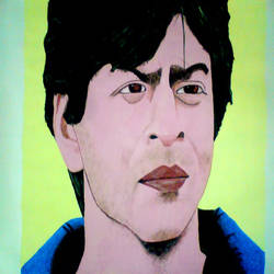 shahrukh khan, 23 x 19 inch, ashish lokhande,paintings,portrait paintings,paintings for living room,canvas,poster color,23x19inch,GAL031327668