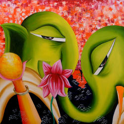 gajanana, 30 x 40 inch, deepali mundra,figurative paintings,paintings for bedroom,paintings for dining room,paintings for living room,paintings for office,ganesha paintings,paintings for hotel,paintings for hospital,canvas,oil paint,30x40inch,GAL0400767,vinayak,ekadanta,ganpati,lambodar,peace,devotion,religious,lord ganesha,lordganpati,ganpati,ganesha,lord ganesh,elephant god,religious,ganpati bappa morya,lotus