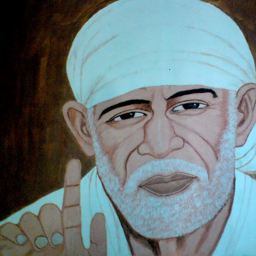 shree sai baba, 29 x 21 inch, ashish lokhande,paintings,portrait paintings,paintings for living room,canvas,poster color,29x21inch,GAL031327670