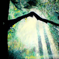sun rays coming under tree, 21 x 29 inch, ashish lokhande,paintings,landscape paintings,paintings for living room,canvas,poster color,21x29inch,GAL031327671
