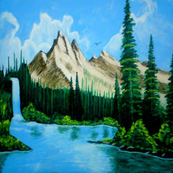 wonderful waterfall, 29 x 21 inch, ashish lokhande,paintings,landscape paintings,paintings for living room,canvas,poster color,29x21inch,GAL031327673