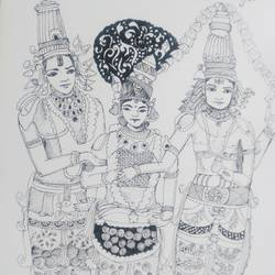 shiva parvathi marriage, 8 x 12 inch, akilan sekar,impressionist drawings,paintings for living room,paper,ball point pen,8x12inch,GAL030317675