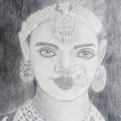 the bride, 8 x 12 inch, akilan sekar,paintings for living room,figurative drawings,drawing paper,graphite pencil,8x12inch,GAL030317676