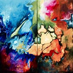 metamorphosis , 48 x 12 inch, aatmica ojha,abstract paintings,paintings for living room,canvas,acrylic color,48x12inch,GAL026897678