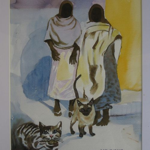 women with cats, 10 x 13 inch, sudhakaran edakkandy,paintings,animal paintings,paintings for living room,canson paper,watercolor,10x13inch,GAL031427682
