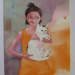 shilpa & cat, 10 x 14 inch, sudhakaran edakkandy,paintings,animal paintings,paintings for living room,canson paper,watercolor,10x14inch,GAL031427687