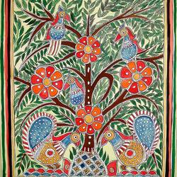 intricate madhubani, 13 x 11 inch, padmini abrol,folk art paintings,paintings for living room,madhubani paintings,cartridge paper,poster color,13x11inch,GAL031497692