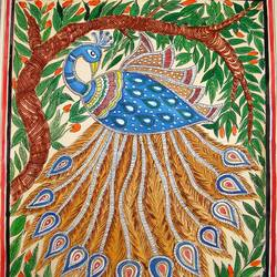 peacock- madhubani, 13 x 11 inch, padmini abrol,folk art paintings,paintings for living room,madhubani paintings,cartridge paper,poster color,13x11inch,GAL031497693