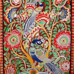 peacocks- kalamkari style, 21 x 15 inch, padmini abrol,folk art paintings,paintings for living room,kalamkari painting,cartridge paper,poster color,21x15inch,GAL031497694