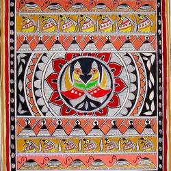 madhubani, 13 x 11 inch, padmini abrol,folk art paintings,paintings for living room,madhubani paintings,cartridge paper,poster color,13x11inch,GAL031497695