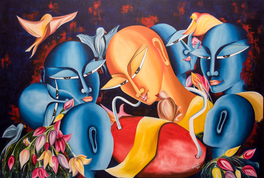 may the celebrations begin, 48 x 72 inch, deepali mundra,figurative paintings,paintings for office,paintings for dining room,paintings for living room,paintings for bedroom,paintings for hotel,paintings for kitchen,canvas,oil paint,48x72inch,GAL0400770
