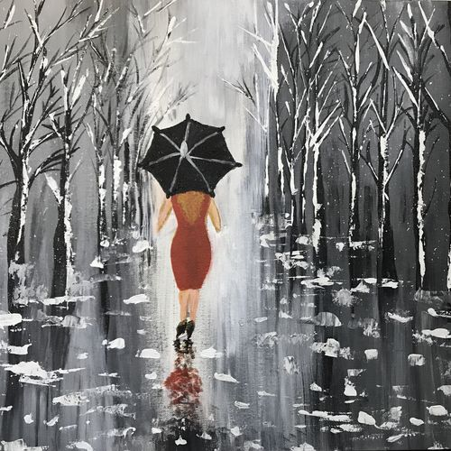 lady walking in rain, 20 x 30 inch, smruti tn,nature paintings,paintings for living room,canvas,acrylic color,20x30inch,GAL031587708Nature,environment,Beauty,scenery,greenery,rain,trees,lady,umbrella