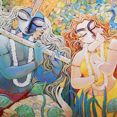 devotion, 67 x 39 inch, subrata ghosh,figurative paintings,paintings for living room,religious paintings,radha krishna paintings,paintings for dining room,paintings for bedroom,paintings for office,paintings for hospital,canvas,acrylic color,67x39inch,GAL0402771