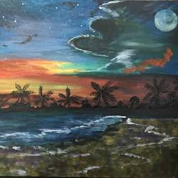 sunset in a beach, 24 x 35 inch, smruti tn,nature paintings,paintings for bedroom,canvas,acrylic color,24x35inch,GAL031587713Nature,environment,Beauty,scenery,greenery,beach,water,moon,sunset,clouds,waves