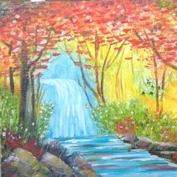 autumn waterfall, 12 x 8 inch, nisha choudhary,nature paintings,paintings for living room,canvas,oil,12x8inch,GAL031617719Nature,environment,Beauty,scenery,greenery,autumn,water,waterfall,trees