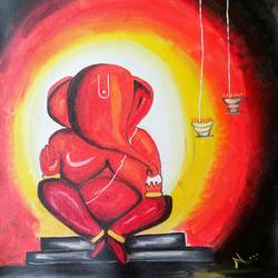 peaceful lord ganesha, 13 x 17 inch, nisha choudhary,paintings for living room,religious paintings,ganesha paintings,canvas,oil,13x17inch,GAL031617720,vinayak,ekadanta,ganpati,lambodar,peace,devotion,religious,lord ganesha,lordganpati