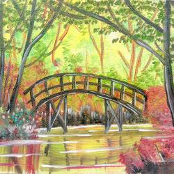lonely bridge, 12 x 8 inch, nisha choudhary,nature paintings,paintings for bedroom,canvas,oil paint,12x8inch,GAL031617721Nature,environment,Beauty,scenery,greenery,bridge,trees,water,leaves