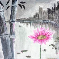 flower in colorless world, 11 x 9 inch, nisha choudhary,nature paintings,paintings for bedroom,canvas,acrylic color,11x9inch,GAL031617723Nature,environment,Beauty,scenery,greenery,flower,water,bamboo,leaves