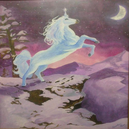 unicorn in moonlight, 18 x 24 inch, banoshree bose,paintings,realistic paintings,paintings for office,canvas,acrylic color,18x24inch,GAL030467724