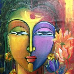 ardha narishwar, 30 x 36 inch, enakshmee biswas,abstract paintings,religious paintings,canvas,acrylic color,30x36inch,GAL031637725