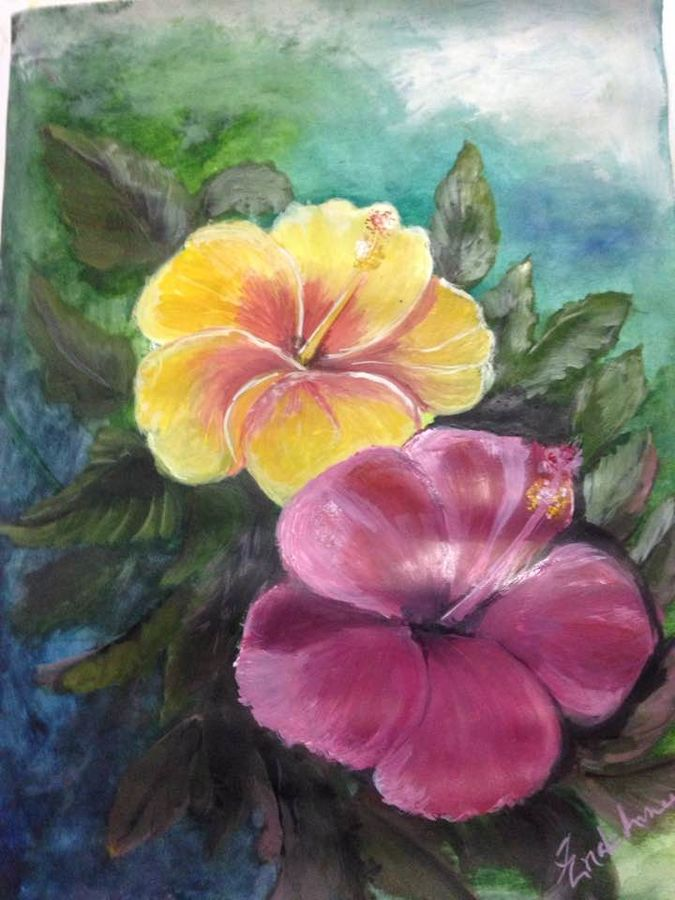 flower, 27 x 37 inch, enakshmee biswas,paintings for living room,flower paintings,renaissance watercolor paper,acrylic color,27x37inch,GAL031637727