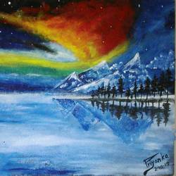 snowy mountains and the colorful night sky, 17 x 12 inch, priyanka  meena,landscape paintings,paintings for living room,horizontal,hardboard,acrylic color,17x12inch,GAL031697735