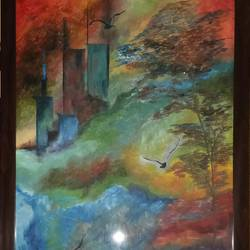 rebellious nature, 25 x 37 inch, ribhu rajpal,nature paintings,paintings for living room,canvas,oil paint,25x37inch,GAL030617736Nature,environment,Beauty,scenery,greenery