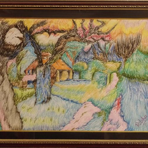 farmhouse, 25 x 17 inch, ribhu rajpal,fine art drawings,paintings for bedroom,drawing paper,enamel color,25x17inch,GAL030617738