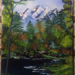 tranquil , 18 x 30 inch, priti supekar ,paintings,landscape paintings,paintings for office,canvas,acrylic color,18x30inch,GAL031787749