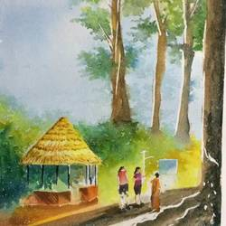 three lady, 14 x 20 inch, dipankar  biswas,landscape paintings,paintings for living room,handmade paper,watercolor,14x20inch,GAL029327754