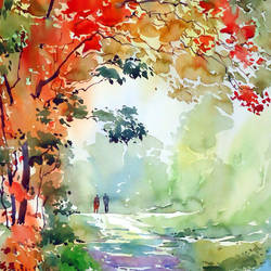 morning walk, 15 x 21 inch, raji p,landscape paintings,paintings for office,canson paper,watercolor,15x21inch,GAL05907757