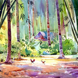 early birds, 15 x 21 inch, raji p,landscape paintings,paintings for living room,canson paper,watercolor,15x21inch,GAL05907758