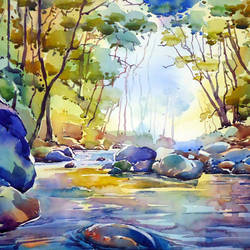 river, 15 x 20 inch, raji p,landscape paintings,paintings for dining room,canson paper,watercolor,15x20inch,GAL05907759
