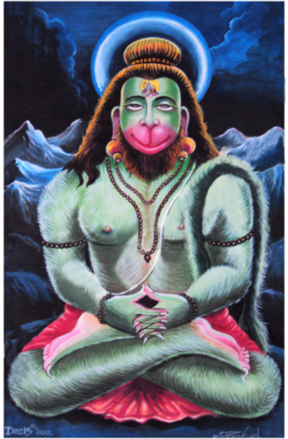 lord hanuman creative art, 12 x 18 inch, prasad teki,illustration paintings,paintings for office,thick paper,acrylic color,12x18inch,GAL0405776