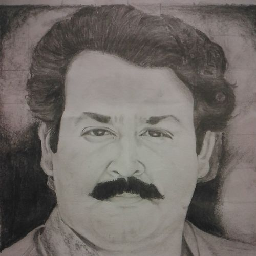 mohanlal portrait(aaram thampuran), 8 x 12 inch, vishnu kp,drawings,portrait drawings,paintings for living room,paper,graphite pencil,8x12inch,GAL032057784
