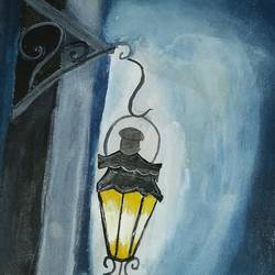silence of the lamp, 8 x 12 inch, afifa  ahmad ,figurative paintings,paintings for living room,thick paper,acrylic color,8x12inch,GAL032067785