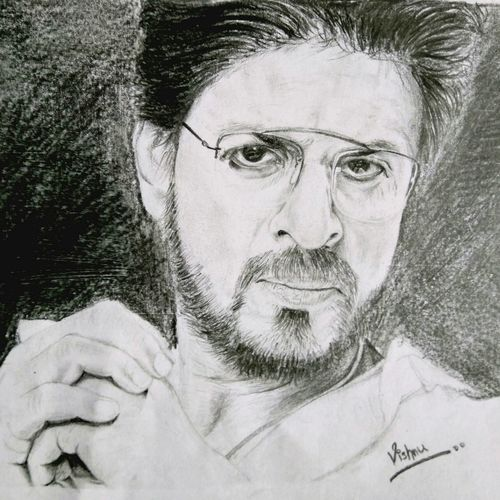 sharukh raees, 12 x 8 inch, vishnu kp,drawings,portrait drawings,paintings for living room,cartridge paper,graphite pencil,12x8inch,GAL032057786