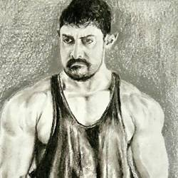aamir khan dangal, 8 x 12 inch, vishnu kp,drawings,portrait drawings,paintings for living room,cartridge paper,charcoal,8x12inch,GAL032057787