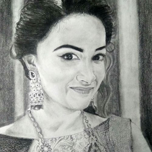 keerthi suresh selfie, 8 x 12 inch, vishnu kp,drawings,portrait drawings,paintings for living room,cartridge paper,graphite pencil,8x12inch,GAL032057791
