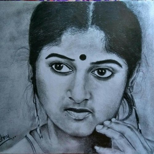 monisha actress, 12 x 8 inch, vishnu kp,drawings,portrait drawings,paintings for living room,cartridge paper,graphite pencil,12x8inch,GAL032057793