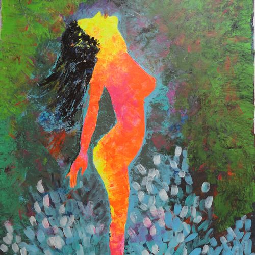 nude - abstract , 20 x 28 inch, amita dand,abstract expressionist paintings,paintings for bedroom,thick paper,acrylic color,20x28inch,GAL014677797