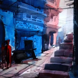 blue city corner, 21 x 15 inch, sankar thakur,landscape paintings,paintings for living room,fabriano sheet,watercolor,21x15inch,GAL0778