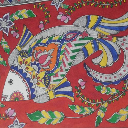 madhubani , 14 x 11 inch, monika kumar,folk art paintings,madhubani paintings,thick paper,watercolor,14x11inch,GAL0361780