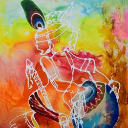 makhan chor, 36 x 48 inch, aatmica ojha,figurative paintings,paintings for living room,canvas,acrylic color,36x48inch,GAL026897808